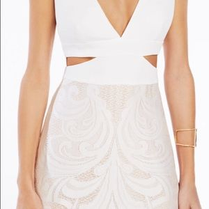 BCBG Swirl Lace Cutout Gown. Maxi Dress